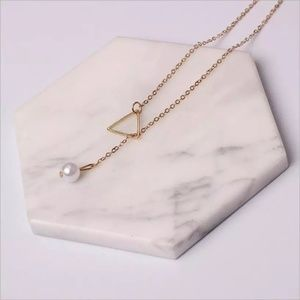 Jewelry - Gold Triangle Pearl Long Chain Necklace